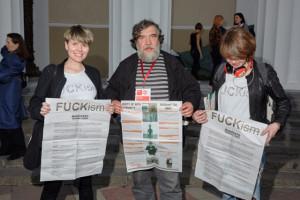 FUCKi̶s̶m̶ performers with the FUCKi̶s̶m̶ t shirts  and the artist Dmitry Shagin (Mitki)
